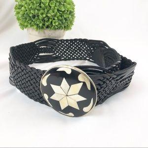 Leather woven belt ornate buckle boho western